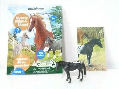 £5 • Buy CollectA Black Appaloosa Horse Mini Toy Figure With AR Card - New Opened Pack