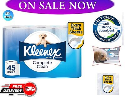 AU26.49 • Buy Toilet Paper 45 Rolls Kleenex Complete Clean 2 Ply White Soft Roll Tissue Bulk