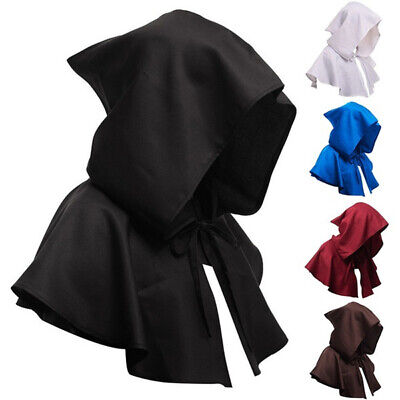 Medieval Cowl Hat Halloween Witch Hooded Cape Cloak Costume Festival Cosplay • 9.27£