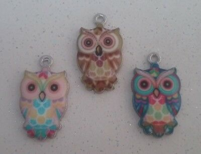 ❤ Shiny Enamel Owl Charms ❤ Pack Of 3 ❤ CRAFTING/JEWELLERY ❤  • 2.25£