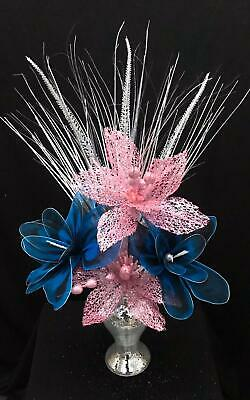 Beautiful Silver Mirrored 26cm Vase With Pink & Blue Flowers, Home Decor Gift • 25.50£