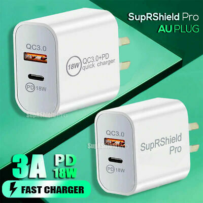 AU11.99 • Buy 18W PD +USB Type C Fast Charging Wall Plug Charger Adapter IPhone Samsung IPad