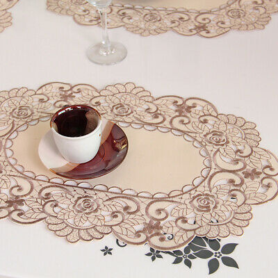 4Pcs Embroidered Floral Placemats Oval Lace Washable Table Mats Beige 30 X 45cm • 7.40£