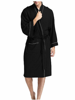 AU35.64 • Buy Men's Robe Plain Cotton Winter Soft Warm Waffle Bath Robe Dressing Gown Robes