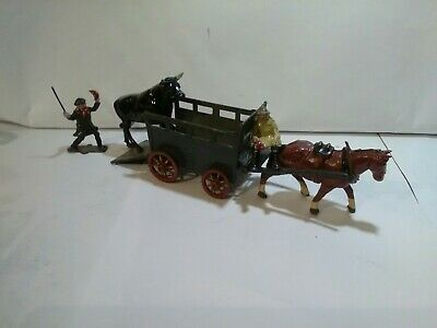Vintage Rare Lead Farm Horse And Cattle Trailer With Figures And Bull... • 125.99£