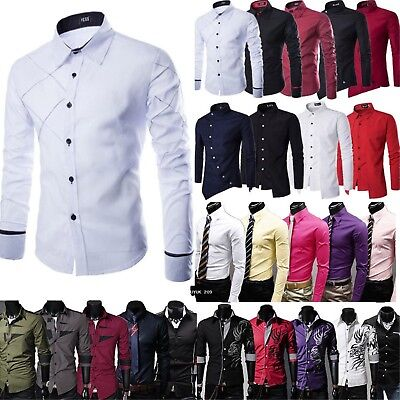 UK Mens Autumn Casual Long Sleeve Shirts Fashion Slim Fit Tunic Top Formal Party • 12.72£