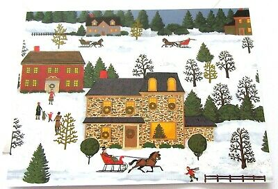 $ CDN1.87 • Buy Vintage Christmas Card Old Fashioned Snowy Christmas Scenes Stone House Sleighs