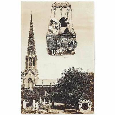 £9.95 • Buy GREETINGS FROM BOLTON Unusual RP Postcard W/ Actresses In Balloon Basket Unused