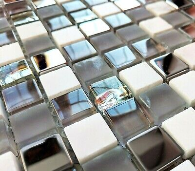 New Grey White Glass Stone & Chrome Metal Small Square Mosaic Wall Tiles 8mm • 7.98£
