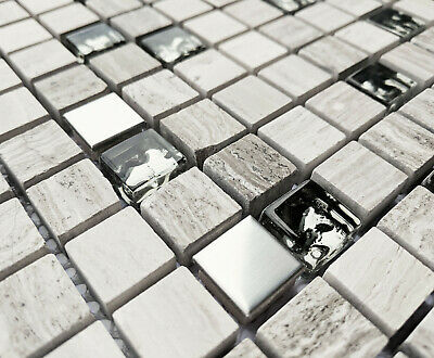 £7.98 • Buy New Grey Stone & Chrome Metal Foil Glass Small Square Mosaic Wall Tiles 8mm