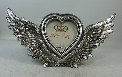 £15.36 • Buy Angel Wings Photo Frame Heart Photograph Picture Holder Distressed Silver Gift
