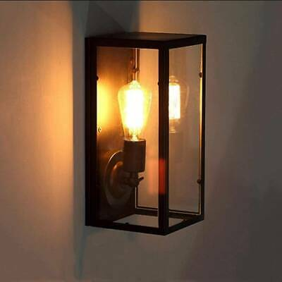 Rectangular Glass Outdoor Outside External Exterior Lantern Metal Wall Light • 26.99£