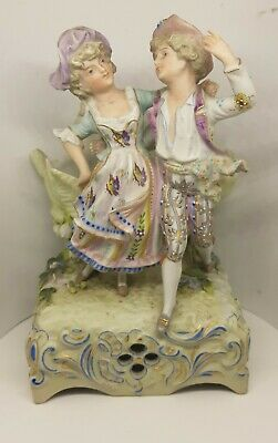 Antique Continental Bisque Porcelain Musical Posy Holder Courting Couple VGC • 80£