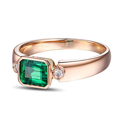 18ct Rose Gold Natural Colombian Emerald & Diamond Ring VS Beauty • 900£