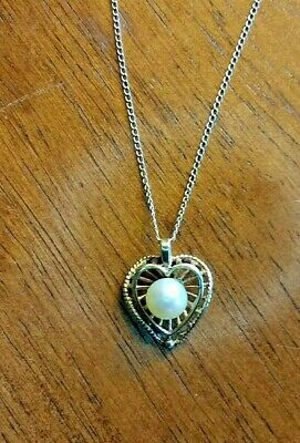 $169.95 • Buy 14K SOLID GOLD GENUINE MABE PEARL HEART PENDANT CHAIN NECKLACE Estate