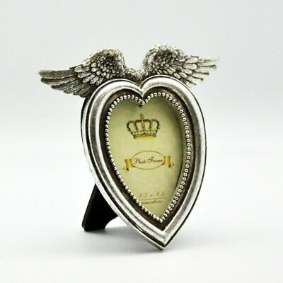 £12.28 • Buy Silver Angel Wings Heart Photo Frame Cherub Wing Photograph Picture Holder Gift