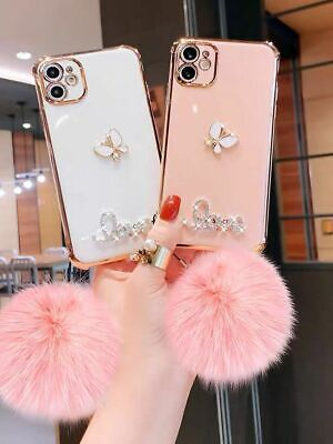 AU11.65 • Buy For IPhone 12 11 Pro MAX XR 7 8 Plus Case Glitter Shockproof Pompom Hybrid Cover