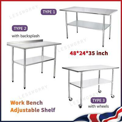 £95.99 • Buy Commercial Stainless Steel Work Bench Catering Table Kitchen Prep Shelf Worktop