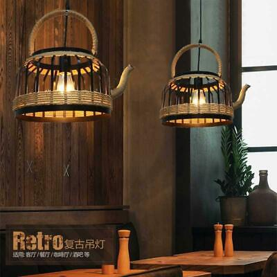 £88.98 • Buy French Country Black Metal Hemp Rope Teapot Shade Kitchen Ceiling Pendant Lights