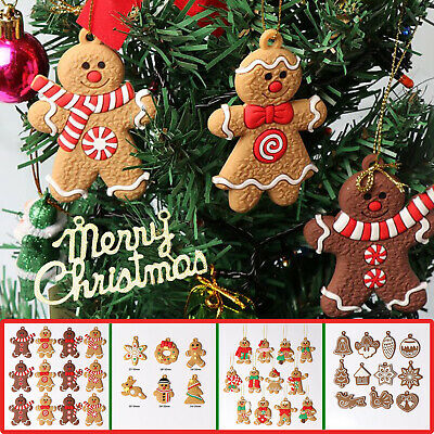 24PCS Gingerbread Man Christmas Tree Hanging Pendant Xmas Tree Decor Ornament UK • 5.45£