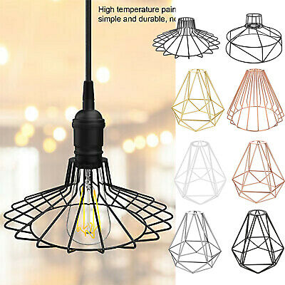 Vintage Metal Cage Industrial Wire Frame Pendant Light Loft Ceiling Lamp Shade • 13.99£