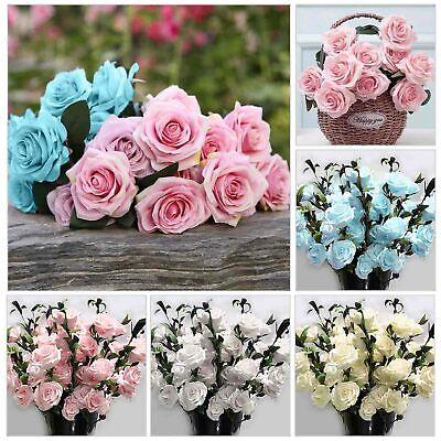 £6.99 • Buy 100Heads Silk Rose Artificial Flowers Fake Bouquet Buch Wedding Home Party Decor