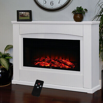 £105.95 • Buy 34 Inch Electric Fire Fireplace Set Free Standing White Surround LED Light Home