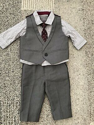 £9.99 • Buy Next Baby Wedding Outfit Suit Inc Waistcoat, Trousers, Shirt & Tie Age 3-6 Mths