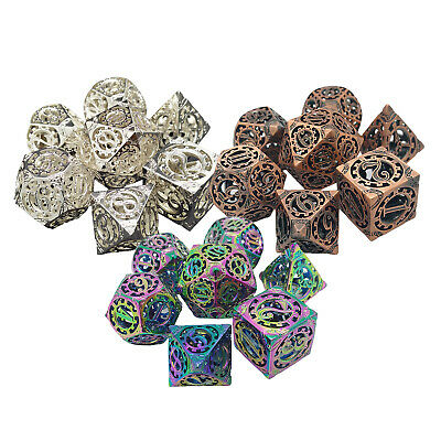 AU34.87 • Buy 7x Hollow Copper D4 D6 D8 D10 D12 D20 Dice For DND Math Teaching Party Game