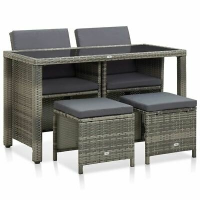 AU407.95 • Buy Stylish Outdoor Dining Table Chairs And Stools Set 5 Pcs Poly Rattan Furniture