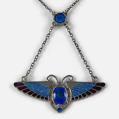 Silver And Enamel Winged Scarab Pendant Necklace, Charles Horner, 1910 • 675£