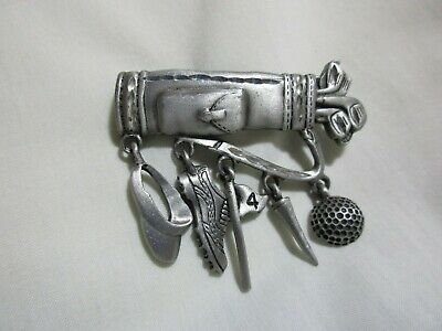 JJ Signed Pewter Brooch Pin Gold Bag & Clubs Charms - Ball Tee Flag Shoes Hat • 9.26£