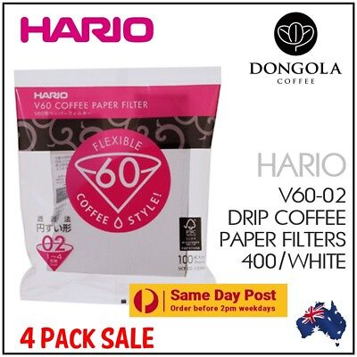 AU43.25 • Buy HARIO V60-02 400 White Coffee Paper Filters Dripper Pour Over Cone Cup Brewer