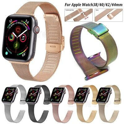 AU12.01 • Buy Milanese Slim Band Strap For Apple Watch Series 6 5 4 3 2 SE 44mm 40mm 42mm 38mm