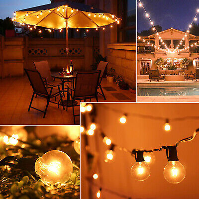 50FT 50 Bulbs Outdoor Garden Festoon String Light G40 Globe Patio Party Wedding • 26.49£