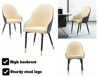 AU161.79 • Buy 2 Piece Dining Chairs Kitchen Steel Chair PU Leather French Provincial Seat Home