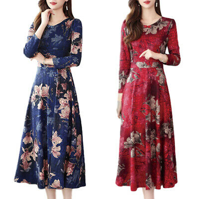AU30.11 • Buy Women Floral Evening Party Midi Dress Ladies Long Sleeve Cocktail Swing Dresses