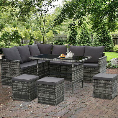 AU849.95 • Buy Patio Furniture Setting Outdoor Wicker Sofa Dinning Set Storage Cover 9 Seater