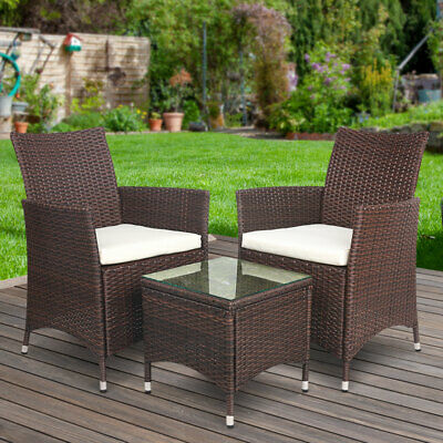 AU208.95 • Buy 3PCS Wicker Furniture Table Chair Set Outdoor Bistro Setting Washable Seat Cover