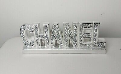 Crushed Crystal Diamond Silver Ornament Shelf Sitter Mantle Piece Decor NEW • 26.99£