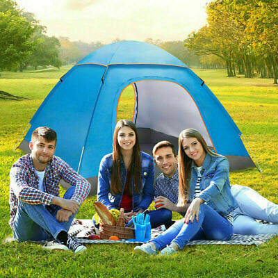 AU54.07 • Buy 3-4 Man Person Pop Up Tent Family Festival Camping Auto Hiking Beach Dome Tent