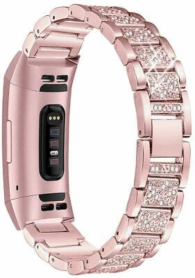 AU16.99 • Buy Rhinstone Stainless Steel Strap Link Bracelet Watch Band For Fitbit Charge 2 3 4