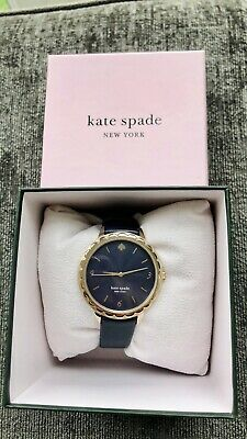 $ CDN103.71 • Buy Kate Spade Morningside Navy Blue Leather Gold Scallop Watch - New