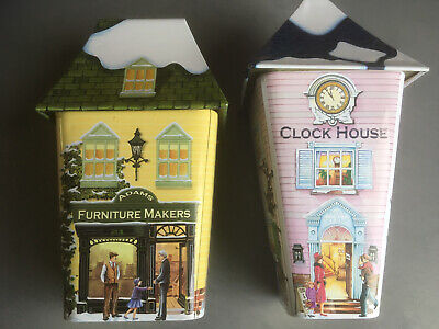 2 X Empty Biscuit Sweet Tin Furniture Makers Clockhouse Watch Repairer • 11.75£