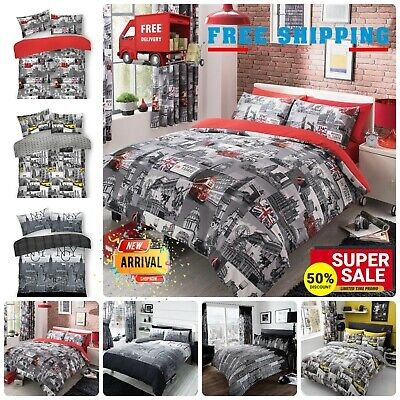 £15.49 • Buy World Cities Theme Duvet Cover NYC LONDON CITY BUS SKY LINE Bedding Set All Size