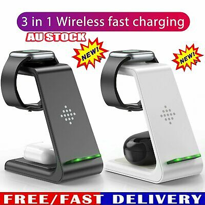 AU33.95 • Buy 3in 1 Wireless Charger Dock Charging Station For Apple IWatch IPhone 12 11 XS 8+