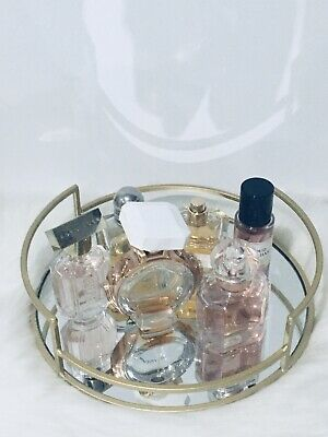 £17.99 • Buy Round Gold Metal Mirror Tray Art Deco Home Candle-Holder Perfume Tray