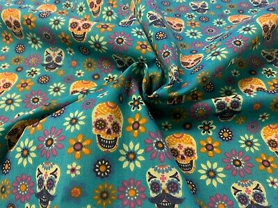 £3.99 • Buy MEXICAN Sugar Skull Candy Polycotton Cotton Fabric Craft Bunting Material Blue