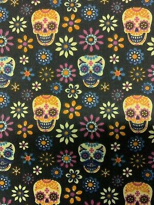 £3.99 • Buy MEXICAN Sugar Skull Candy FLORAL Polycotton Cotton Fabric Material Black GOTHIC
