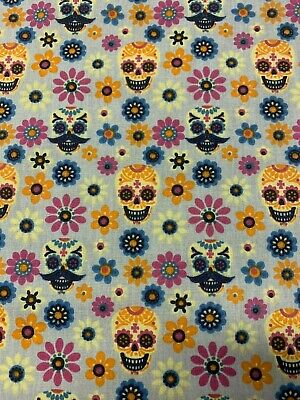 £3.75 • Buy MEXICAN Sugar Skull Candy FLORAL Polycotton  Fabric CrafT Material Grey  GOTHIC